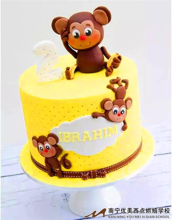 一个猴子主题蛋糕