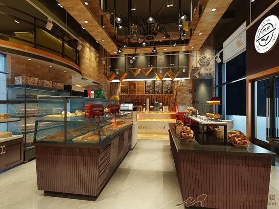蛋糕店装修设计中,矿棉板或玻璃纤维板天棚——这
